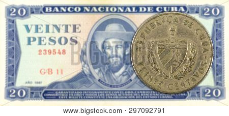 20 Cuban Centavo Coin Against 20 Cuban Peso Banknote