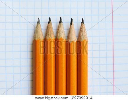 School Pencils On White Background.back To School.color Pencils Isolated On White Background.close U