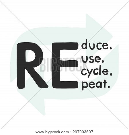 Reduce, Recycle, Reuse, Repeate Text Icon. Hand-drawn Eco-friendly Quote, Save The World Slogan.  En