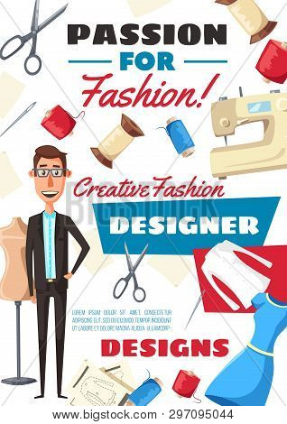Fashion Designer Profession, Atelier Dressmaker Tailor. Vector Man With Tailoring Scissors, Sewing M