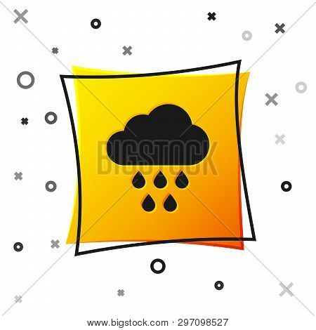 Black Cloud With Rain Icon Isolated On White Background. Rain Cloud Precipitation With Rain Drops. Y
