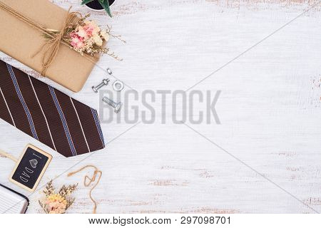 Father's Day Background Concept. Beautiful Small Handmade Diy Gift Box (package), Father's Necktie,