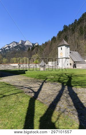 14th Century Red Monastery, Bell Tower, Surrounding Wall And View On Three Crowns Massif, Slovakia