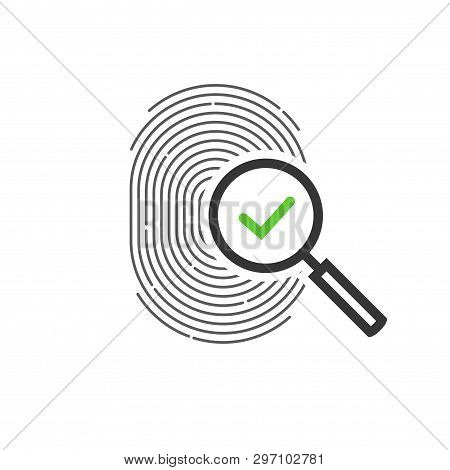 Fingerprint Identification Check Or Access Approved Vector Icon, Line Outline Art Design Of Thumb Pr