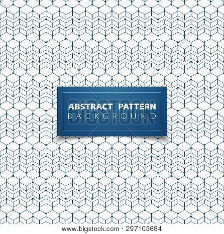 Abstract Blue Geometric Hexagon Pattern Circle Design Background. You Can Use For Ad, Poster, Design