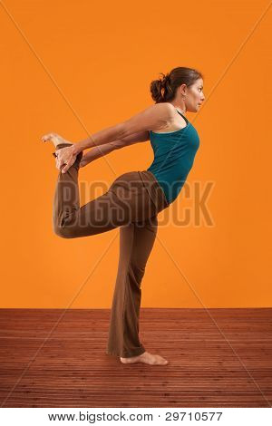 Woman Stretches Her Right Leg