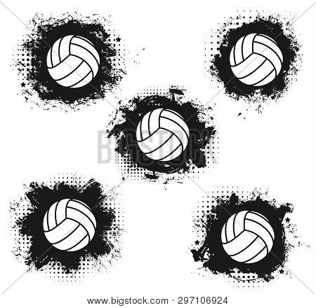 Volleyball Sport Match Tournament Halftone Balls Vector Volleyball Championship Or Sport League Cup