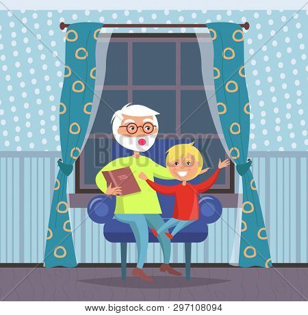 Family Evenings At Home Vector, Grandfather And Grandson Listening To Fairy Tale Told By Grandad. Pe