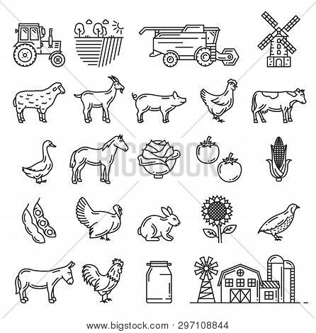 Agriculture Farming, Cattle Farm And Agrarian Icons Vector Isolated Farmer Harvesting Tractor, Wheat