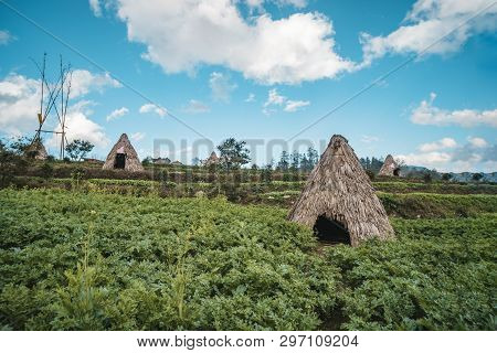 Traditional Home Of Small Peoples Of North Vietnam, Living In The Mountains Near The City Of Sapa. H