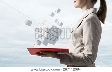 Modern Digital Services Concept With Open Book And Flying In Air White 3d Cubes. New Digital Approac