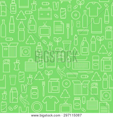 Waste Separate Collection And Recycling Seamless Pattern And Ecology Background
