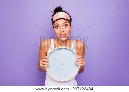 Close Up Photo Beautiful She Her Lady Hold Arms Hands Round Circle Wall Watch Ten O'clock  Just Woke
