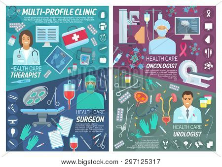 Healthcare and medicine, oncology or surgeon and urologist doctors staff. Medical items and treatment pills, therapy, oncology and urology diagnostic equipment and health medicines poster