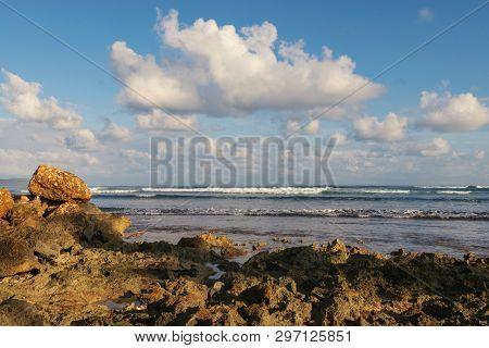Ocean In Sunrise Nature Landscape. Clouds And Ocean Landscape. Ocean Nature In Sunrise. Nature Lands