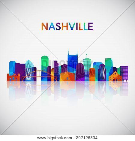 Nashville Skyline Silhouette In Colorful Geometric Style. Symbol For Your Design. Vector Illustratio