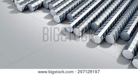 Reinforcement Steel Bar Steel Building Armature Corner Background 3d Illustration  On Grey Gradient