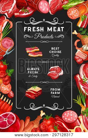 Meat And Sausages, Farm Butcher Shop Poster. Vector Gourmet Delicatessen, Beef Steak Or Pork Ham And