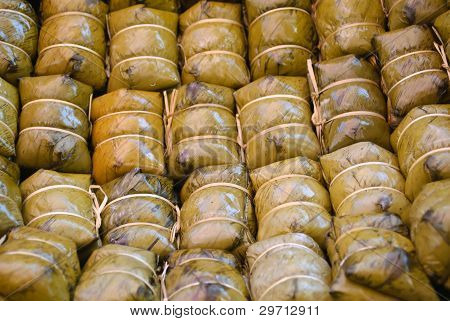 Glutinous Rice Steamed In Banana Leaf