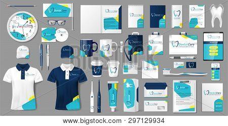 Corporate Medical Center Branding Identity Template Design. Modern Stationery Mockup For Dental Clin