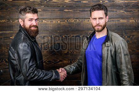 Friendship Of Brutal Guys. Approved Business Deal. Handshake Gesture Meaning. Handshake Symbol Of Su