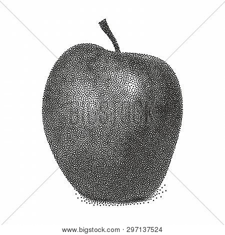 Graphic Black And White Apple. Vector Stylized Apple Isolated On White Background. Stipple Vector Ap