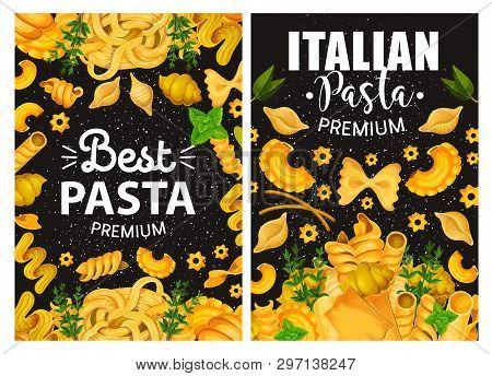 Italian Cuisine Pasta Restaurant Menu Cover. Vector Traditional Premium Quality Italian Homemade Pas