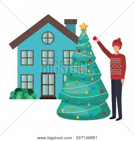Man With Christmas Tree Outside The House Vector Illustration Desing