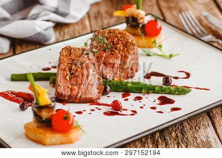 Luxury Gourmet Food. Veal Cooking Recipe. Elegant Expensive Restaurant Meal. Meat Dish On Plate.