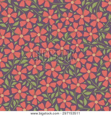 Hand Drawn Pretty Red Flowers And Leaves Ditsy Floral Design. Vector Seamless Pattern On Dark Purple