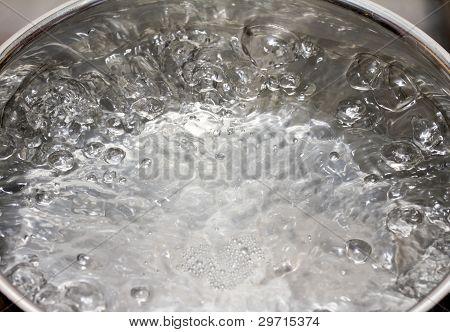 Saucepan full of boiling water