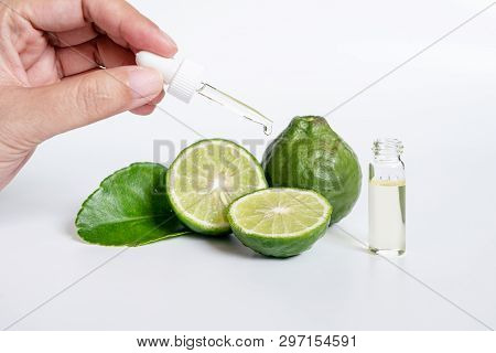 Bergamot Serum, Organic Products Made From Natural Concept. Woman Hand Holding Glass Dropper For Der