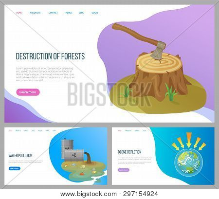 Destruction Of Forests Vector, Environmental Problems Water Pollution With Garbage, Ozone Depletion