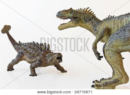Ankylosaurus And Allosaurus Battle With White Background