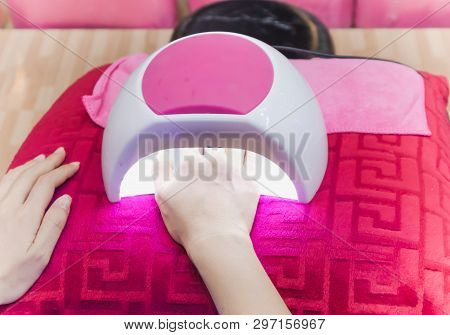 Hand Of Woman Drying Her Nails In Uv Lamp On Magenta Color Pillow. Professional Manicure In Salon. D