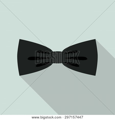 Black Elegant Bow Tie Icon. Flat Illustration Of Black Elegant Bow Tie Vector Icon For Web Design