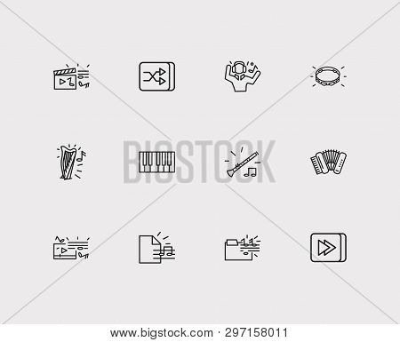 Music Icons Set. Music Folder And Music Icons With Forward Button, Man Listing Music And Video Clip.