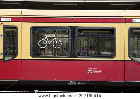 Potsdam, Berlin, Germany: 18th August 2018: S Bahn Train Bicycle Storage Sign
