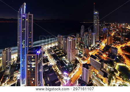 Gold Coast, Australia - April 7 2019: Surfers Paradise Aerial Nightscape With The Q1 And Soul Buildi