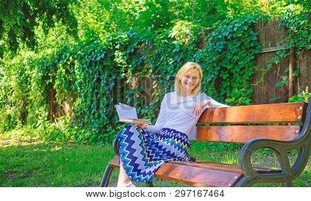 Lady Enjoy Poetry In Garden. Enjoy Rhyme. Woman Happy Smiling Blonde Take Break Relaxing In Garden R