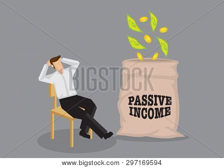 Cartoon Man Sitting In A Relaxed Manner Enjoying Money Falling Into His Bag. Vector Illustration On