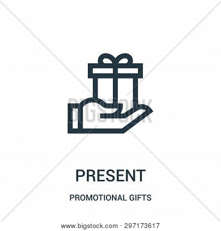 Present Icon Isolated On White Background From Promotional Gifts Collection. Present Icon Trendy And