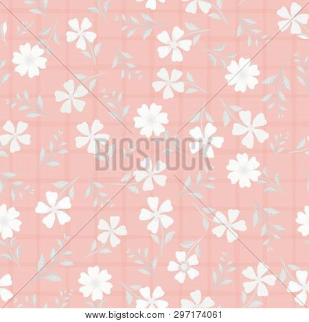 Beautiful Hand Drawn Flowers And Leaves In Shades Of White. Vector Seamless Pattern On Pink Watercol
