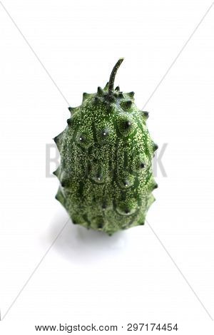 Exotic Fruit - Cucumis Metuliferus. Kiwano. Horned Melon, African Horned Cucumber. Isolated