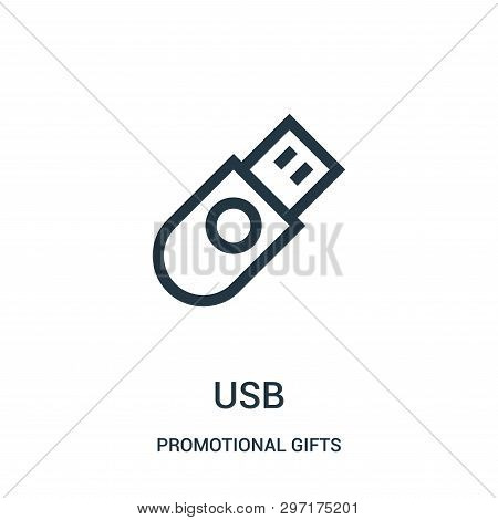Usb Icon Isolated On White Background From Promotional Gifts Collection. Usb Icon Trendy And Modern