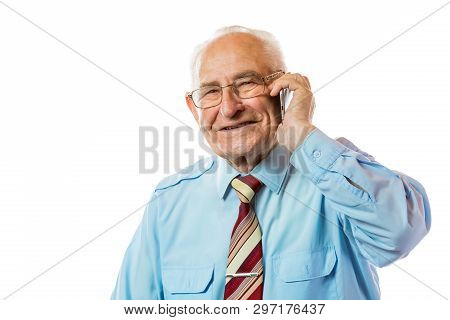 Elderly Senior Old Businessman Using His Mobile Phone And Smiling Isolated On White Background