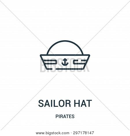 Sailor Hat Icon Isolated On White Background From Pirates Collection. Sailor Hat Icon Trendy And Mod