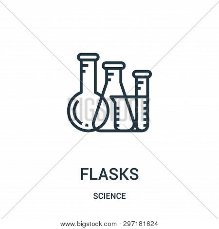Flasks Icon Isolated On White Background From Science Collection. Flasks Icon Trendy And Modern Flas