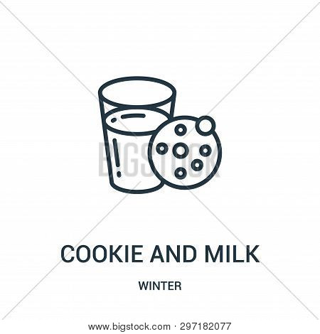 Cookie And Milk Icon Isolated On White Background From Winter Collection. Cookie And Milk Icon Trend