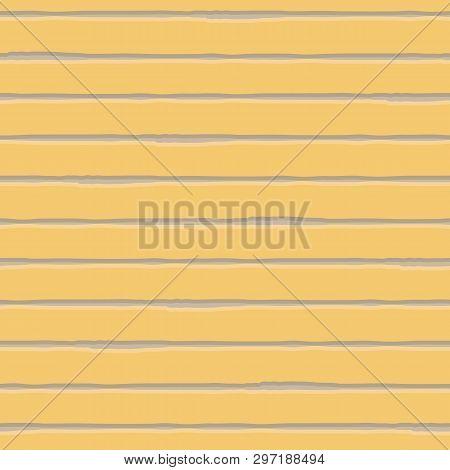 Horizontal Watercolour Brown And Cream Striped Geometric Design. Seamless Vector Pattern On Yellow B